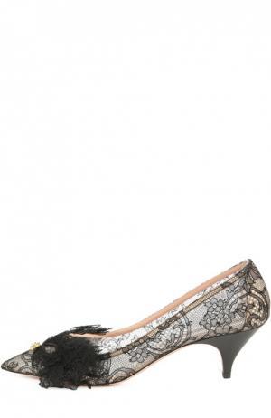 Кружевные туфли с аппликацией Rochas. Цвет: черный