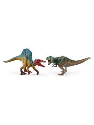 Спинозавр и Т-рекс, мини SCHLEICH. Цвет: хаки, голубой, светло-серый