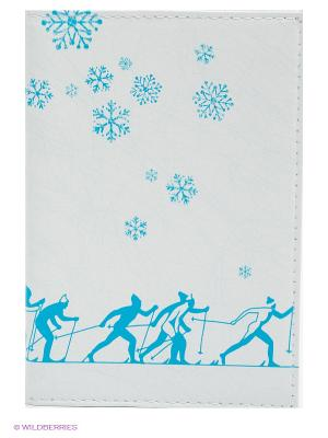 Обложка для автодокументов Лыжники Mitya Veselkov. Цвет: белый, голубой
