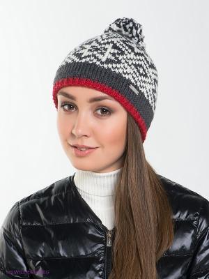Шапка Viking caps&gloves. Цвет: серый, красный, белый
