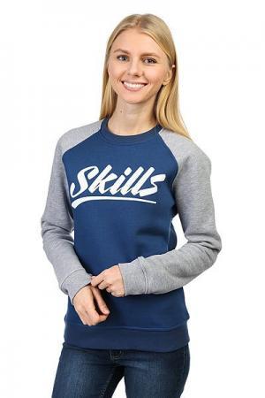 Толстовка классическая женская  College Blue/Gray Skills. Цвет: серый,синий