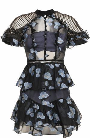 Приталенное мини-платье с открытой спиной self-portrait. Цвет: голубой