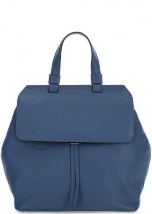 Сумка-рюкзак из мягкой кожи синего цвета Abro. Цвет: синий