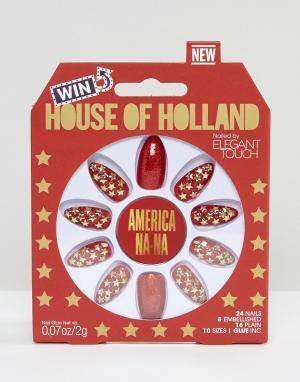 Elegant Touch Накладные ногти House of Holland Luxe by. Цвет: красный