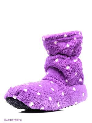 Сапожки-грелки фиолетовые в горох Warmies. Цвет: фиолетовый