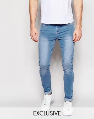 Liquor & Poker Светлые супероблегающие эластичные джинсы. Цвет: синий