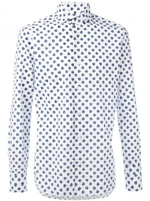 Рубашка с мелким принтом клевера Barba. Цвет: белый