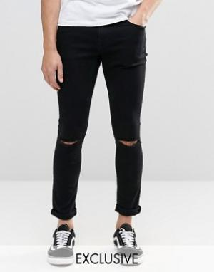 Brooklyn Supply Co. Черные суперзауженные джинсы с разрезами на коленях Co. Цвет: черный