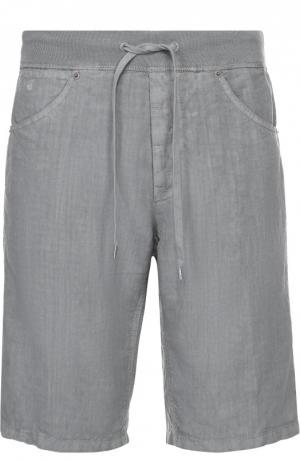 Льняные бермуды с карманами 120% Lino. Цвет: серый