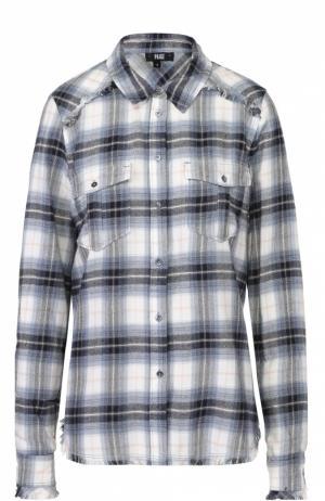 Блуза прямого кроя в клетку с накладными карманами Paige. Цвет: синий