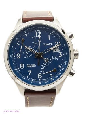 Часы TIMEX. Цвет: синий, коричневый