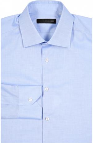 Приталенная сорочка с воротником кент Stanbridge. Цвет: голубой