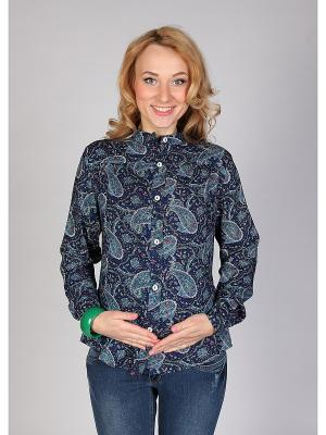 Блуза на пуговицах Мамуля красотуля. Цвет: темно-синий