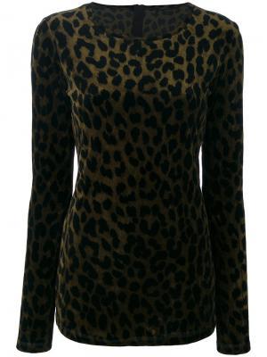 Свитер с леопардовым рисунком Odeeh. Цвет: зелёный