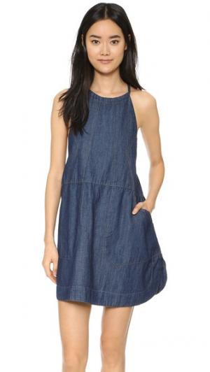 Синее джинсовое платье Baby Free People. Цвет: темный индиго