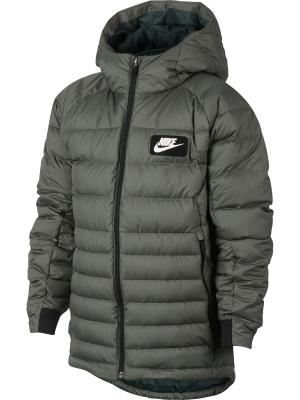 Пуховик B NSW JKT HD DWN FILL GUILD550 Nike. Цвет: серо-зеленый
