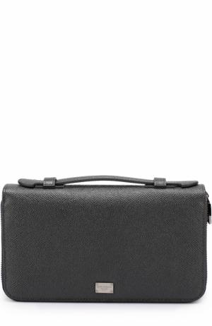 Кожаный футляр для документов с отделениями кредитных карт и монет Dolce & Gabbana. Цвет: темно-серый