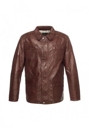 Куртка кожаная Московская меховая компания. Цвет: коричневый