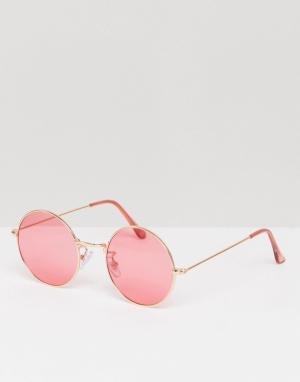 Jeepers Peepers Большие солнцезащитные очки с розоватыми стеклами. Цвет: розовый