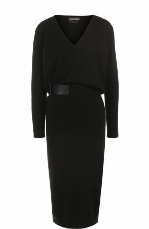 Кашемировое платье с V-образным вырезом и поясом Tom Ford. Цвет: черный
