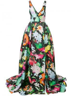 Длинное платье  с цветочным принтом Monique Lhuillier. Цвет: многоцветный