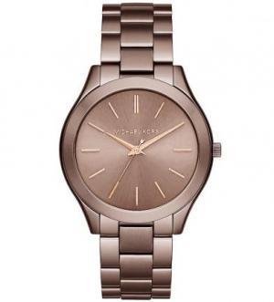 Часы с коричневым браслетом из нержавеющей стали Michael Kors