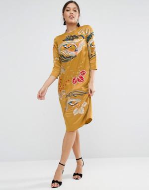 ASOS Цельнокройное платье с вышивкой и длинными рукавами. Цвет: желтый