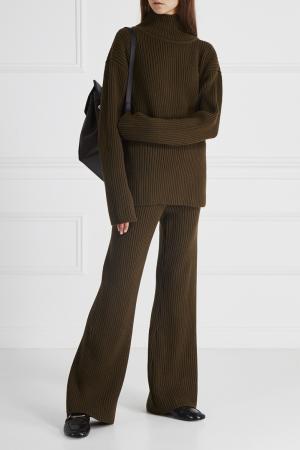 Шерстяные брюки LAROOM. Цвет: зеленый