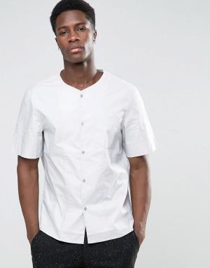 Kiomi Рубашка классического кроя без воротника с короткими рукавами. Цвет: серый