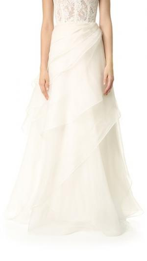 Многослойная асимметричная юбка Reem Acra. Цвет: золотой