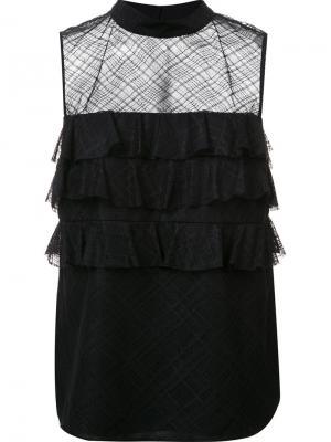 Блузка Annabelle с оборками Zac Posen. Цвет: чёрный