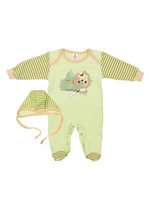 Комплект одежды: комбинезон, чепчик Коллекция Лёва КОТМАРКОТ. Цвет: светло-зеленый