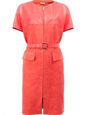 Кожаное платье с поясом Maison Ullens. Цвет: розовый и фиолетовый