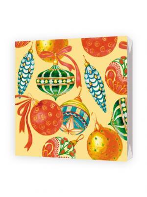 Набор новогодний Золотые Шары из 3 упаковок трехслойных салфеток с ярким принтом, 3х20шт Bulgaree Green. Цвет: красный, золотистый
