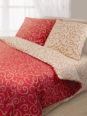 Комплект постельного белья Волшебная ночь. Цвет: бежевый, красный