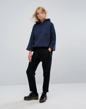 YMC Широкие брюки с добавлением шерсти и складками. Цвет: черный