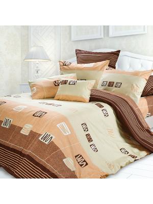 Комплект постельного белья 2,0 биоматин Кофе-Хаус Унисон. Цвет: темно-бежевый, коричневый