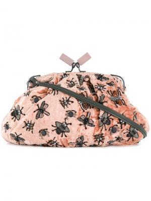 Сумка-клатч с украшением из бусин Jamin Puech. Цвет: розовый и фиолетовый