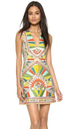 Вышитое платье Natali со спиной-борцовкой alice + olivia. Цвет: мульти