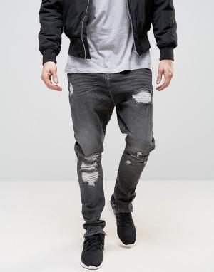 ASOS Черные выбеленные джинсы с рваной отделкой и заниженным шаговым швом A. Цвет: черный