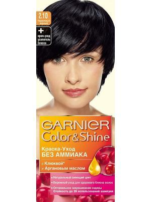 Краска-уход для волос Color&Shine без аммиака, оттенок 2.10, Черничный черный Garnier. Цвет: черный