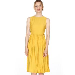 Платье расклешенное без рукавов, на шнуровке сбоку PEPALOVES. Цвет: желтый горчичный