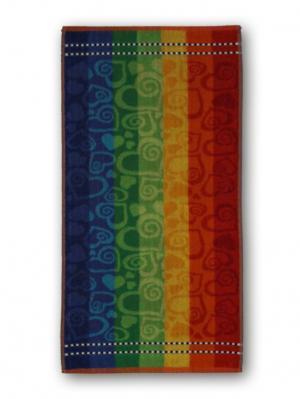 Полотенце махровое пестротканое жаккардовое 30x80см Сердечки с завитками Авангард. Цвет: синий,красный