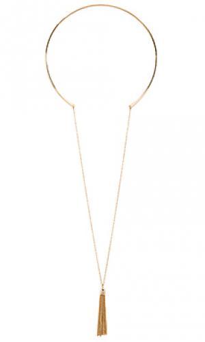 Ярусное ожерелье с кисточками Ettika. Цвет: металлический золотой