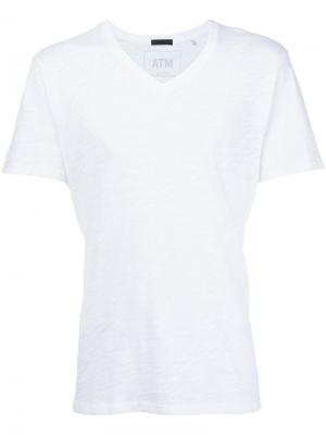 Мешковатая футболка с V-образным вырезом Atm Anthony Thomas Melillo. Цвет: белый