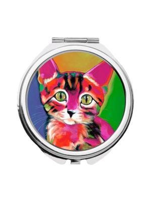 Зеркальце карманное Радужный котенок Chocopony. Цвет: голубой, горчичный