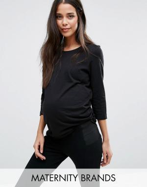 New Look Maternity Футболка с рукавами 3/4 для беременных. Цвет: черный