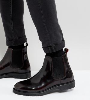 ASOS Бордовые кожаные ботинки челси для широкой стопы. Цвет: красный