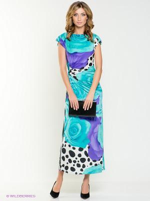 Платье МадаМ Т. Цвет: бирюзовый, фиолетовый