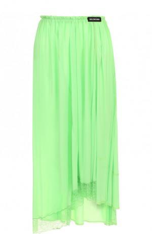 Однотонная юбка-миди асимметричного кроя Balenciaga. Цвет: зеленый